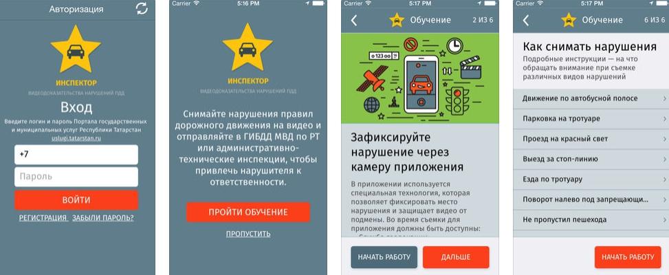 Интерфейс приложения Народный инспектор